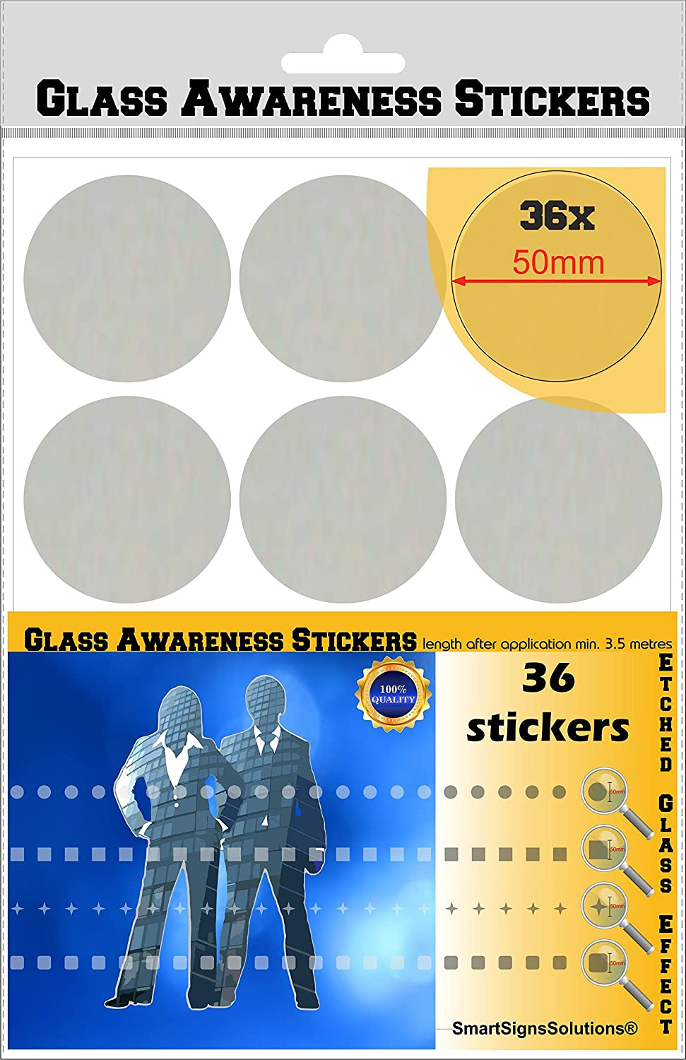 Glass Awareness Stickers 50mm Circles Dots Etched Effect Frosted Film Patio Doors Shops Office Public Areas SmartSignsSolutions