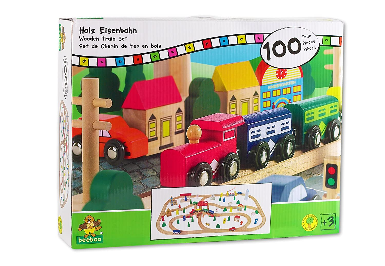 BEEBOO - Ferrocarril de Madera 100 piezas