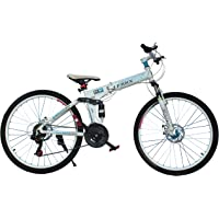GOGO A1 FRRX High Carbon Steel Mountain Bicycle with Folding (White and Blue)