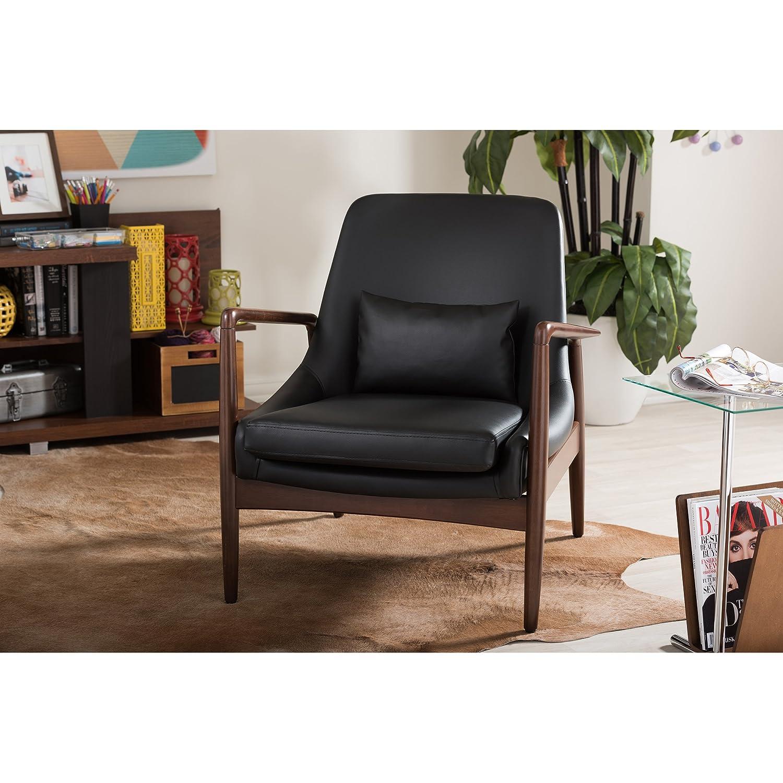 Amazon.com: Baxton Studio Carter Mid Century Modern Retro Faux Leather  Upholstered Walnut Wood Frame Leisure Accent Chair, Medium, Black: Kitchen  U0026 Dining