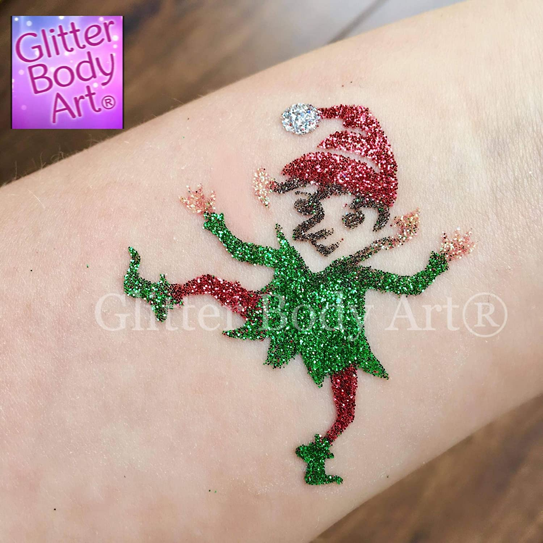 Glitter Body Art Kit de Tatuaje de Navidad con Purpurina: Amazon ...