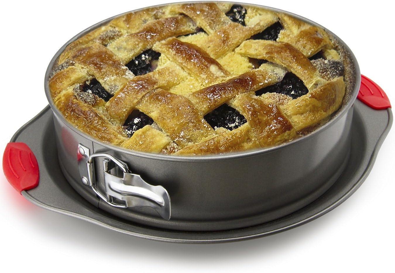 Stampo per Torte di Lunga Tenuta con Prese in Silicone Boxiki Kitchen Stampo per Torte a Cerniera Antiaderente Stampo per Cheesecake 2 in 1 e Stampo ad Anello per Torte