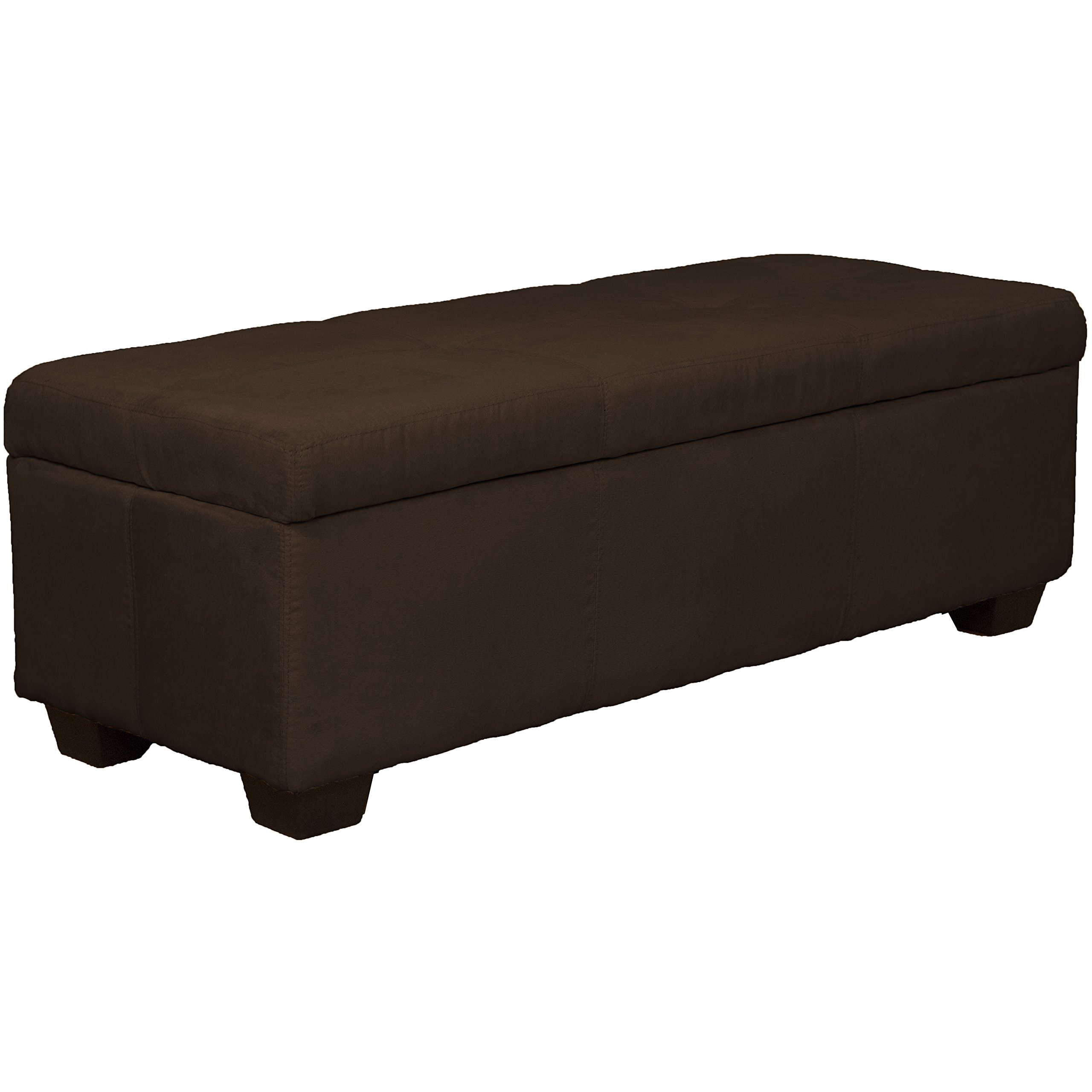 48'' x 19'' x 18'' high Tufted Padded Hinged Storage Ottoman Bench, Microfiber Suede Chocolate Brown