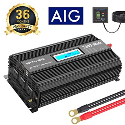 Power Inverter 2000 Watt DC 12V to AC 120V with 3AC Outlets Dual 2.4A USB Ports Remote Control LCD Display for RV Truck Boat by VOLTWORKS: Car Electronics