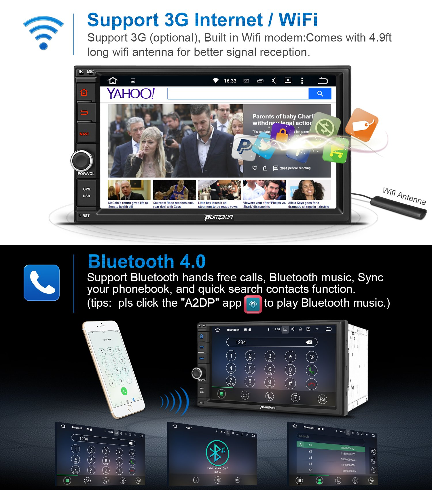 2GB 32GB Android 7.1 Car Stereo - Double Din Bluetooth 4.0 Radio - Support Fast Boot, GPS Navigation, USB/SD, 3G WIFI, Mirror Link, Backup Camera, AV-Out, OBD2, DVR, Subwoofer by PUMPKIN (Image #5)
