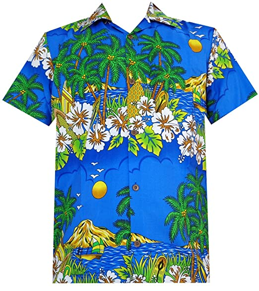 bd1e096a Alvish Hawaiian Shirts 44 Mens Floral Scenic Print Beach Aloha Party Camp  Dark Blue S