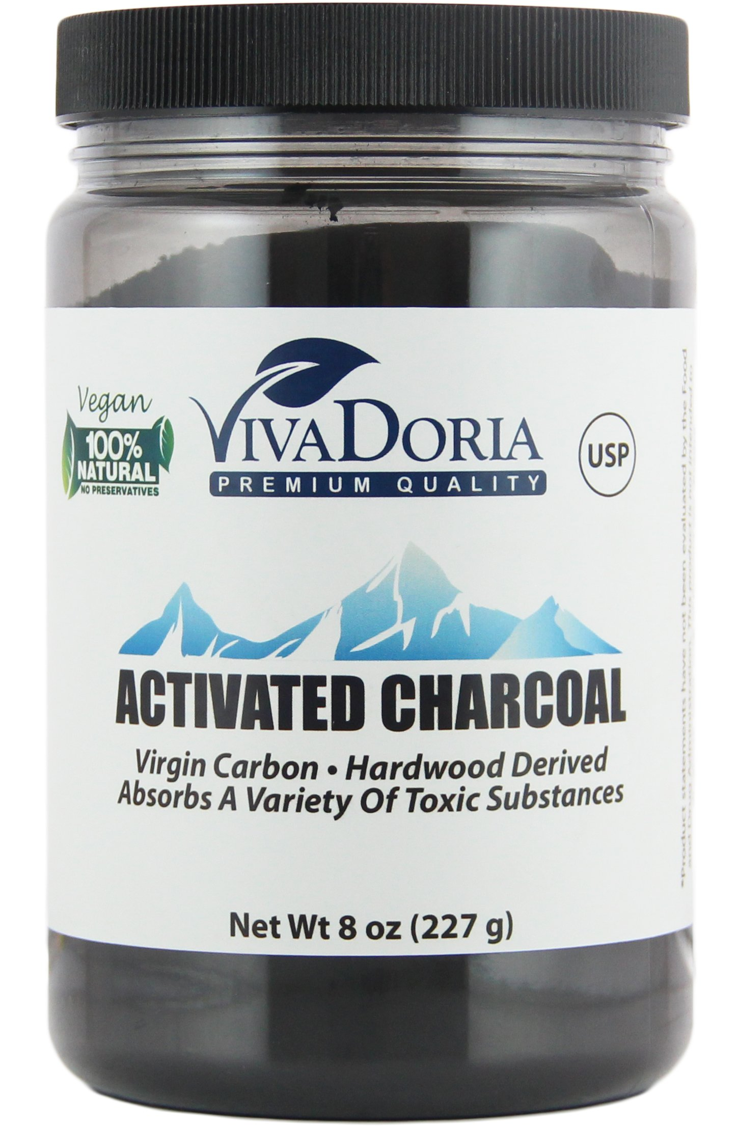 Viva Doria Virgin Activated Charcoal Powder Food Grade (8 oz)