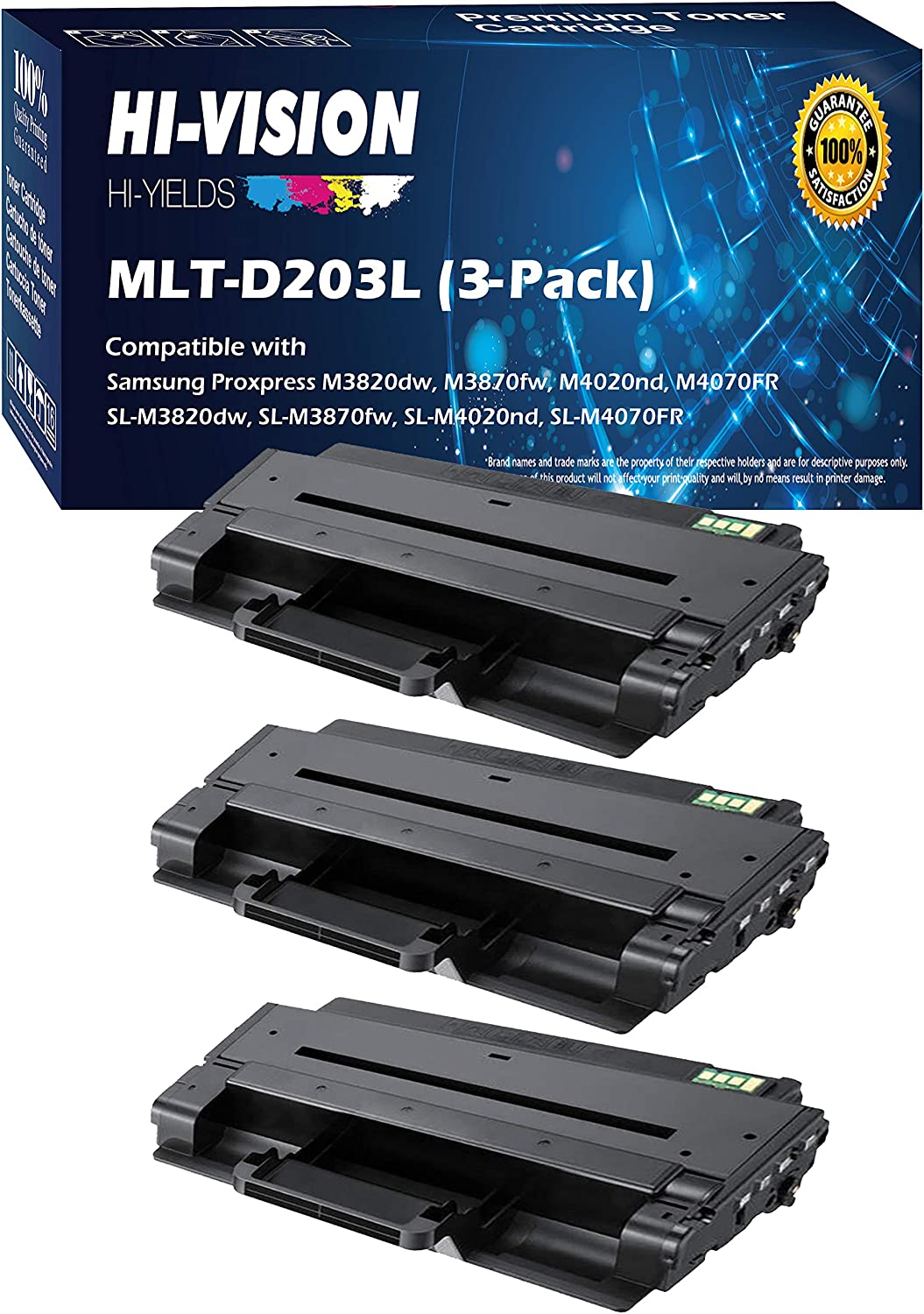 2 PK MLT-D203L Black Toner For Samsung ProXpress M3320ND SL-M4020ND M4070FR