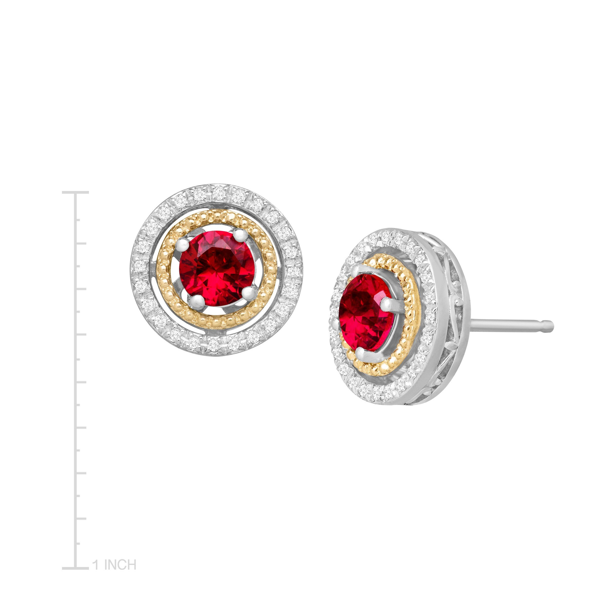 1 1/3 ct Created Ruby & 1/8 ct Diamond Stud Earrings in Sterling Silver and 14K Gold by Finecraft (Image #3)