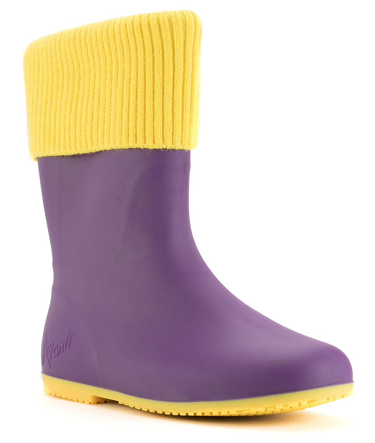 Avanti Storm Rain Boot Waterproof With Removable Knitted Cuff Monogram-Able Foldable B078SYBX79 6 B(M) US|Purple and Yellow