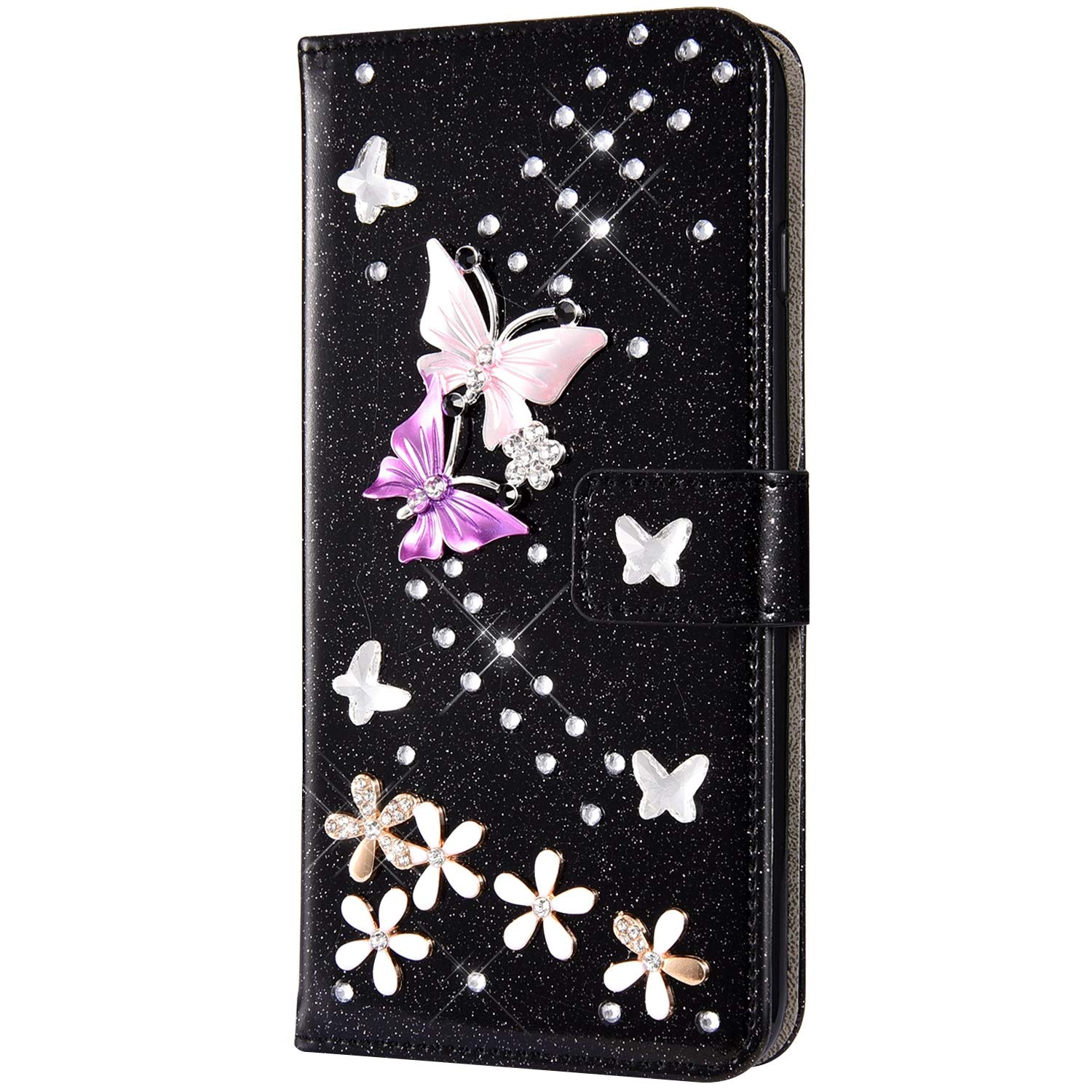 Case for Huawei Y6 2019 Flip Case Premium PU Leather Wallet Case 3D Handmade Glitter Bling Shiny Diamond Butterfly with Card Slots Kickstand for Huawei Y6 2019,Black by ikasus
