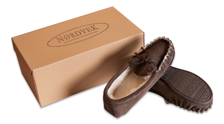 Nordvek Premium Mens 100% Sheepskin Moccasin Slippers With Non-Slip Hard Sole # 420-100