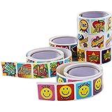 """Children's School Stickers - Assorted Motivational Sticker Rolls Student Encouragement Stickers - 6 Rolls - 1260 Stickers - 2.4""""L x 1.10""""H x 2.40""""W"""