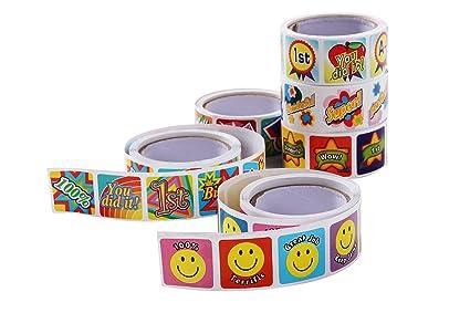 Multicolored Assorted Design Children's Reward Stickers - Square Motivation  Encouragement Stickers for Doctors, Teachers,