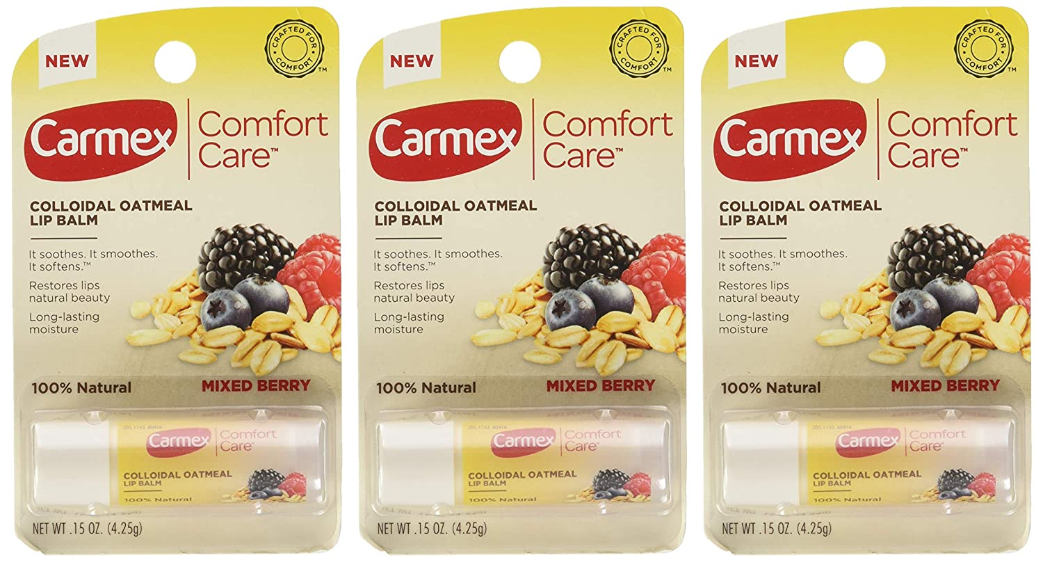 Carmex Comfort Care Colloidal Oatmeal Lip Balm, Mixed Berry .15oz (Pack of 3)