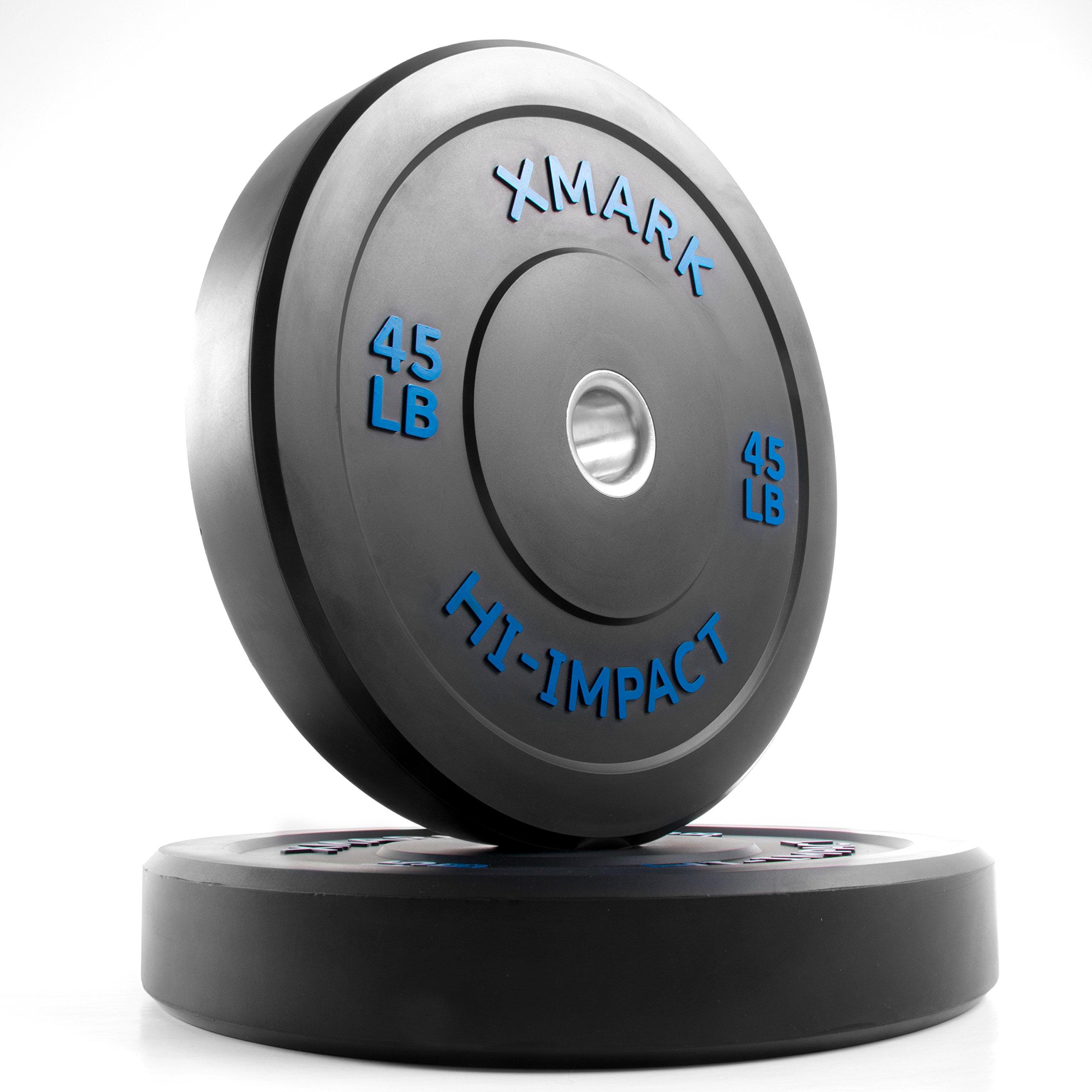 XMark 45 lb Pair Hi-Impact Bumper Plates, Three-Year Warranty, Hi-Impact Dead Bounce Commercial Olympic Bumper Weight Plates, XM-3393