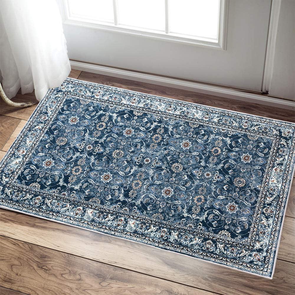 "Persian Area Rug 3'x5'3"" Blue Floorcover Floral Pattern Kashan Traditional Non Slip Vintage Carpet"