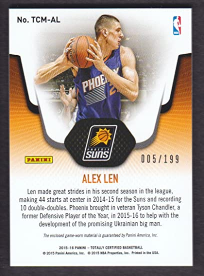 2015-16 Totally Certified Basketball Jersey Red #AL Alex Len ...