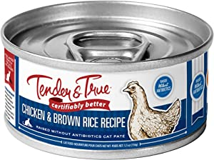 Tender & True Antibiotic-Free Chicken & Brown Rice Recipe Canned Cat Food, 5.5 oz, Case of 24
