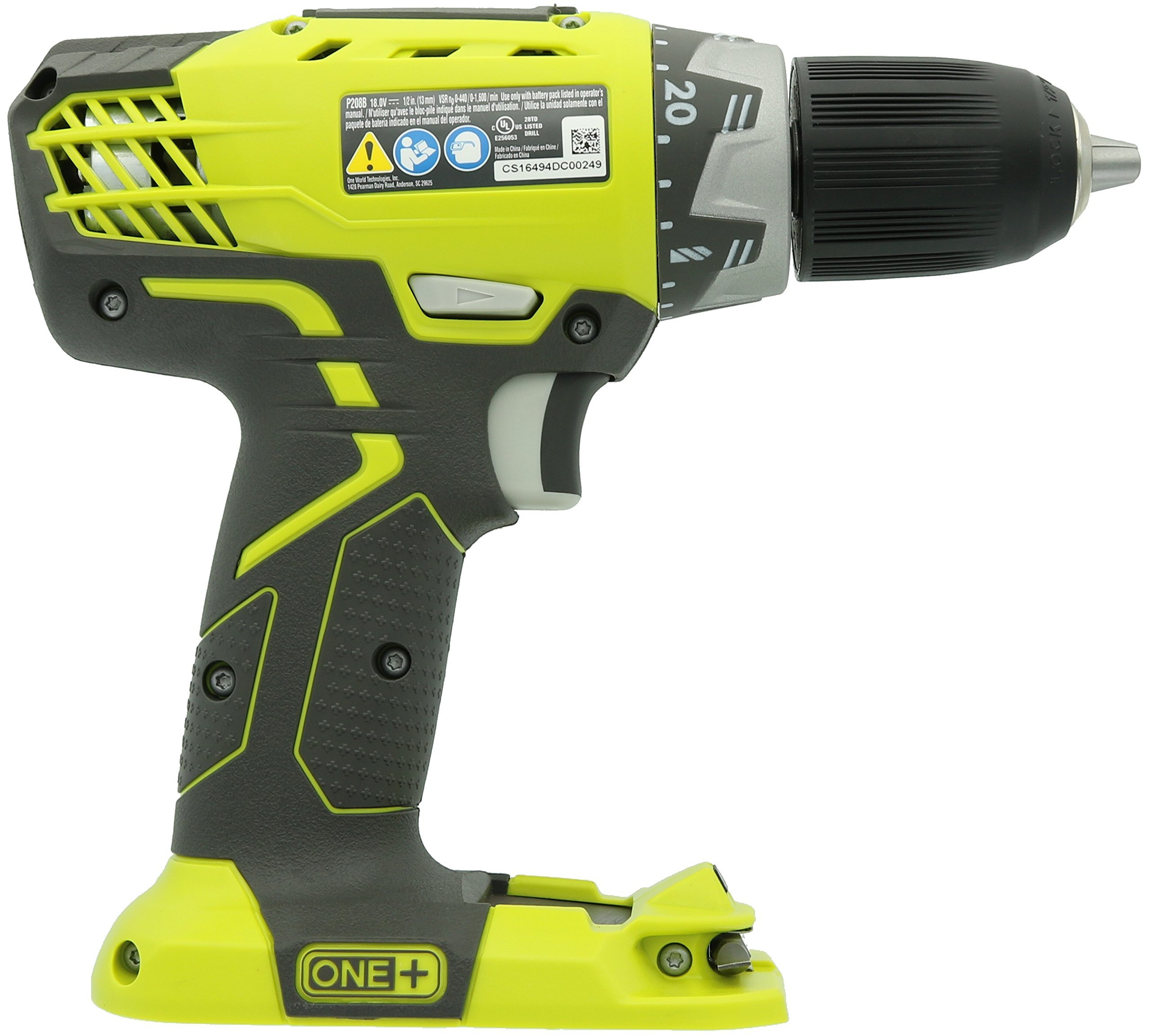 Ryobi P208 One+ 18V Lithium Ion Drill / Driver with 1/2 Inch Keyless Chuck (Batteries Not Included, Power Tool Only) (Certified Refurbished) by Ryobi (Image #2)