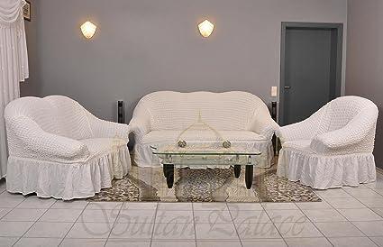 Sultan Palace Funda para sillón y sofá, 50% algodón, 50% poliéster, Blanco, Sofa/2-Sitzer