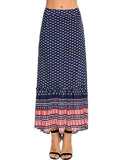 3c3af8ab42 Chigant High Waist Floral Printed Pleated Skirt Boho Chiffon Midi Skirts  for Women