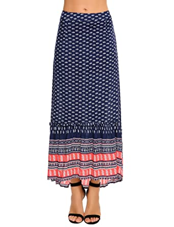 5deaca713 Chigant High Waist Floral Printed Pleated Skirt Boho Chiffon Midi ...