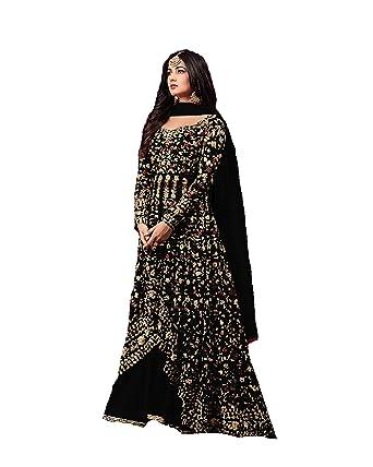 e16454800c ziya Indian/Pakistani Ethnic wear Net Lahenga Type Salwar Kameez Maisha  (Black, XS