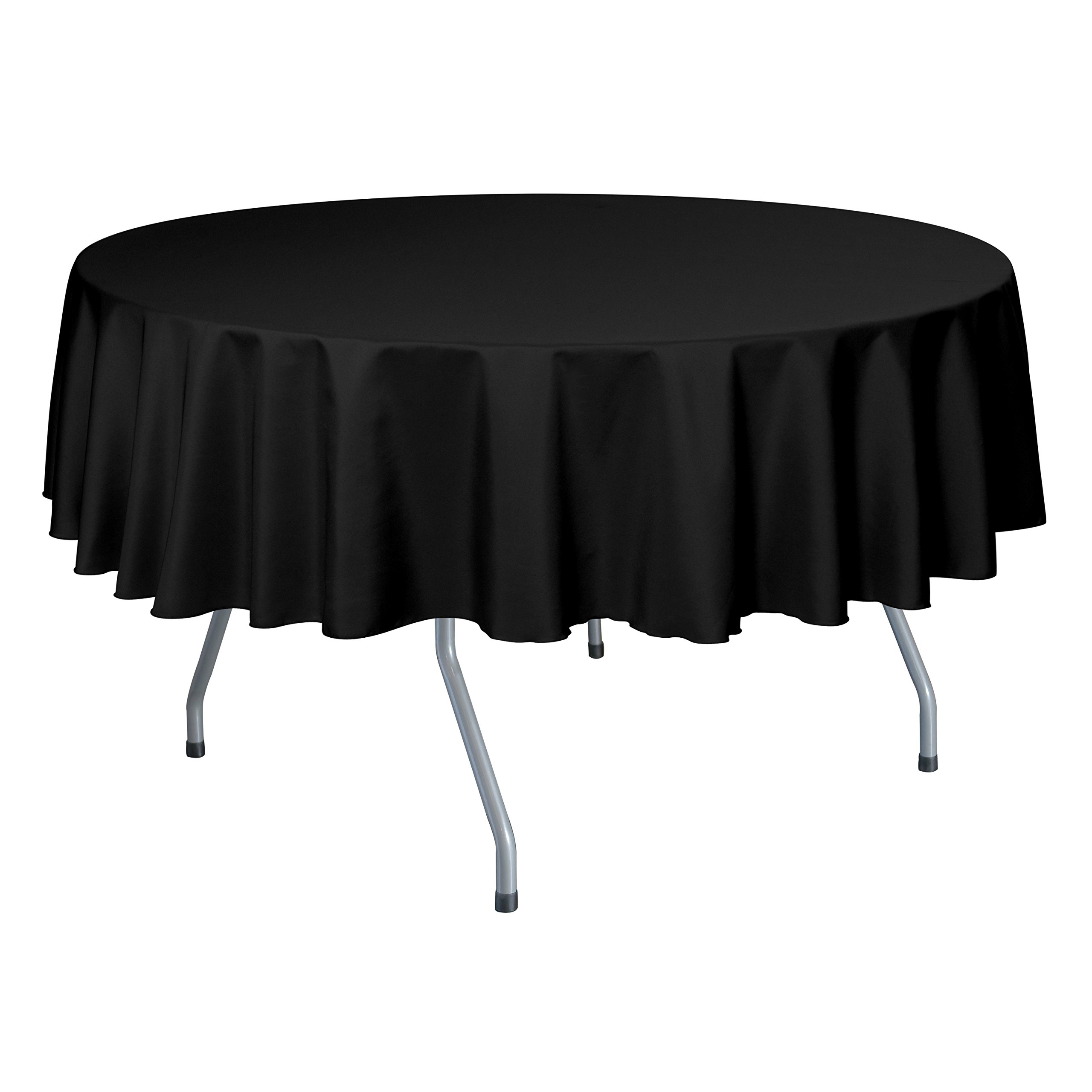 Ultimate Textile (10 Pack) 84-Inch Round Polyester Linen Tablecloth - for Wedding, Restaurant or Banquet use, Black