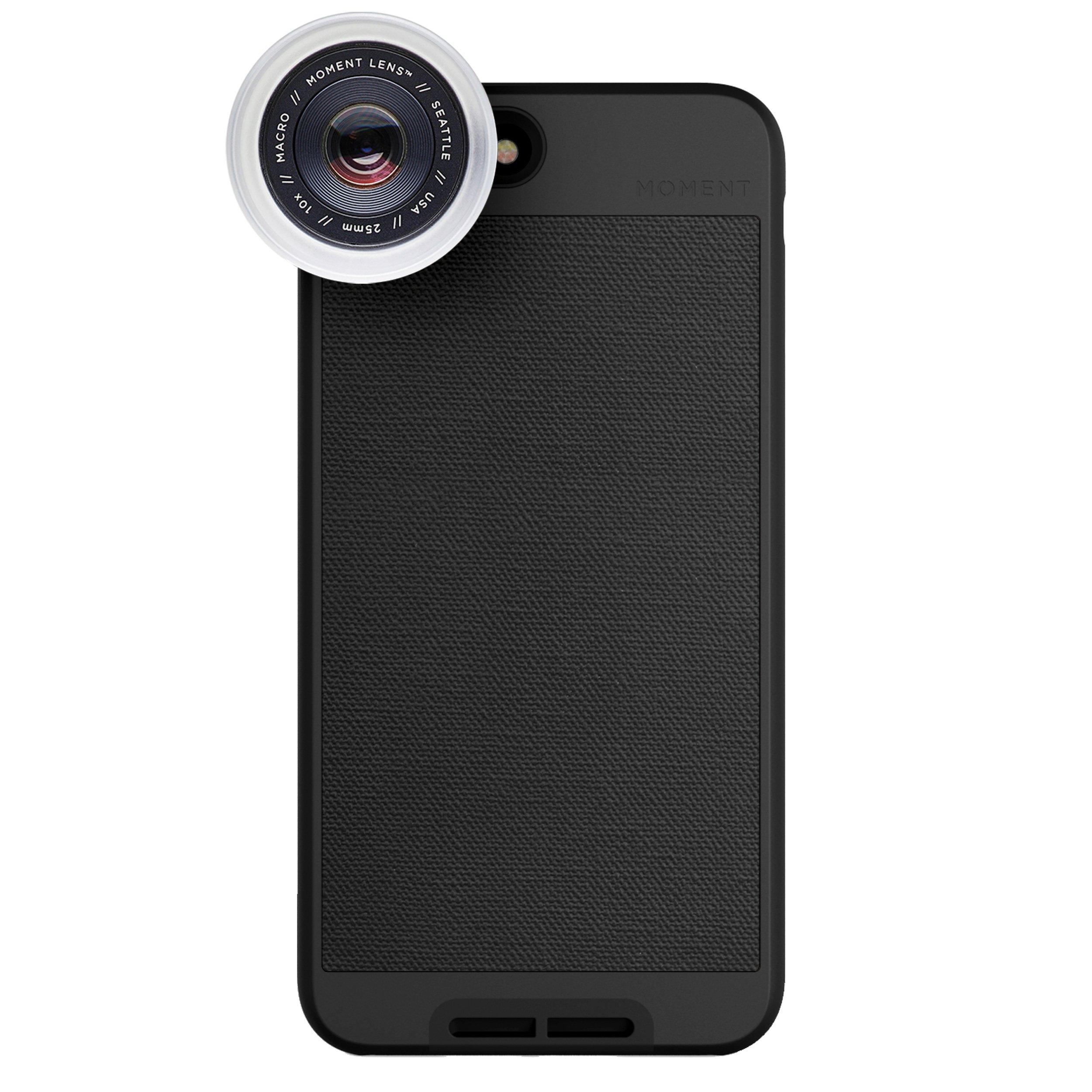 iPhone 8 Plus / iPhone 7 Plus Case with Macro Lens Kit || Moment Black Canvas Photo Case plus Macro Lens || Best iphone macro attachment lens with thin protective case.