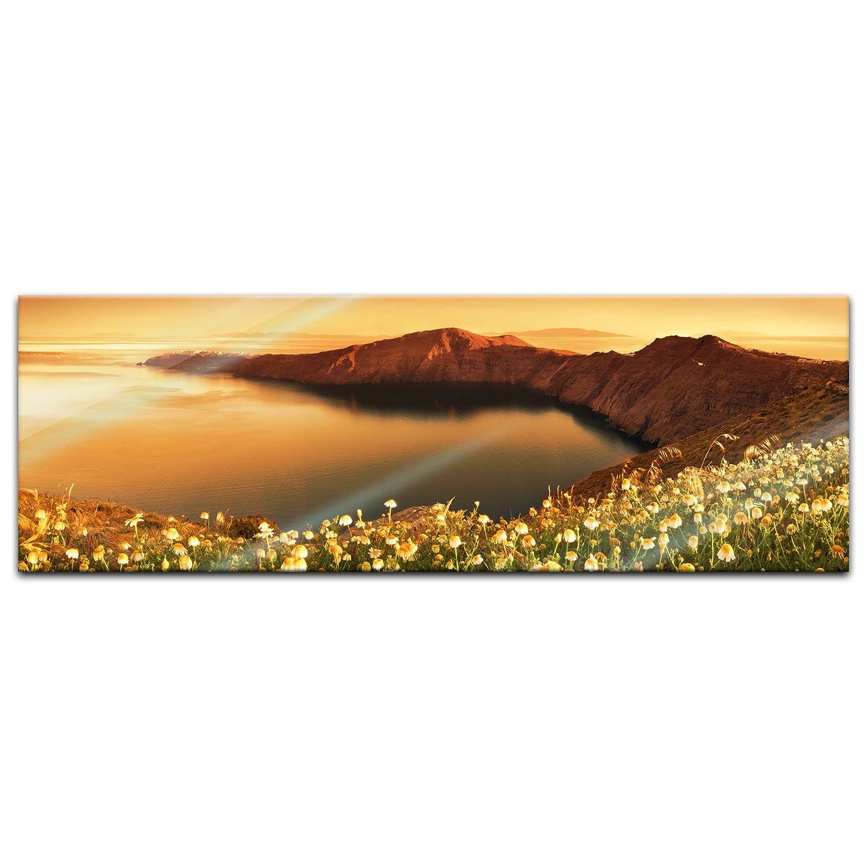 Bild auf Glas Echtglas kein Acryl Deko Glas Handmade Glasbild Wandbild aus Glas Glasfoto Sonnenaufgang /über Santorini Griechenland Moderne Glasbilder 20x20