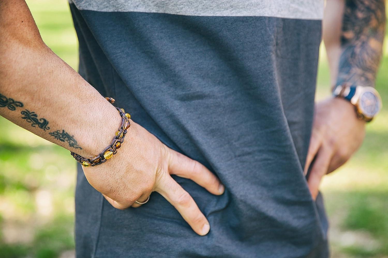 Bracelet Ambre Baltique pour Homme avec Cordon Brun UAB Marmaras Amber Neck Family