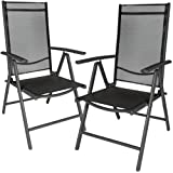 TecTake Set of 2 Aluminium folding garden chairs adjustable with armrests anthracite/black