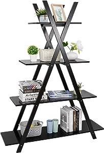 SUPER DEAL 4 Tier Bookshelf Storage Shelves, A Frame Bookcase, Plant Book Display Furniture for Home Office, Black