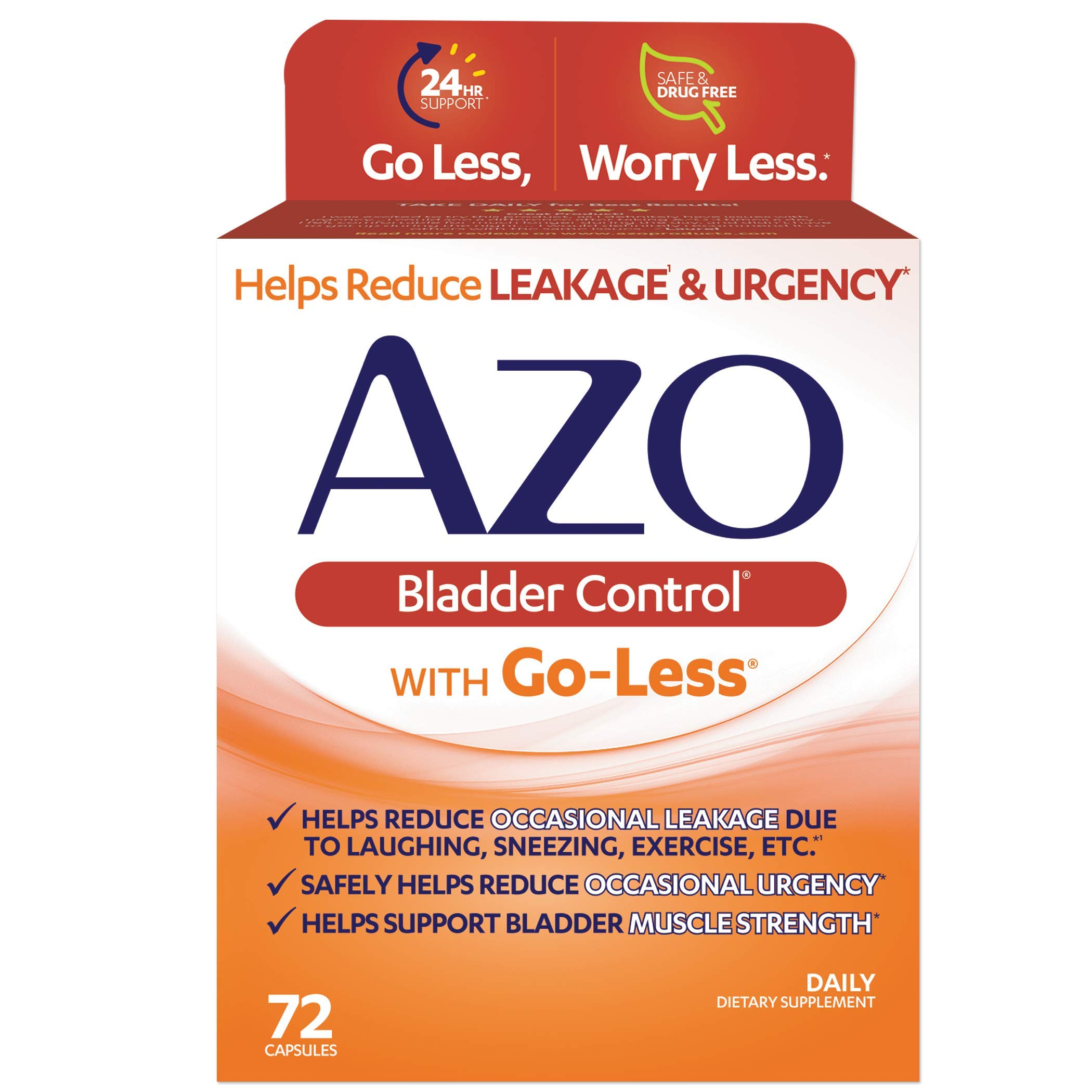 AZO Bladder Control with Go-Less Daily Supplement | Helps Reduce Occasional Urgency* | Helps reduce occasional leakage due to laughing, sneezing and exercise††† | 72 Capsules