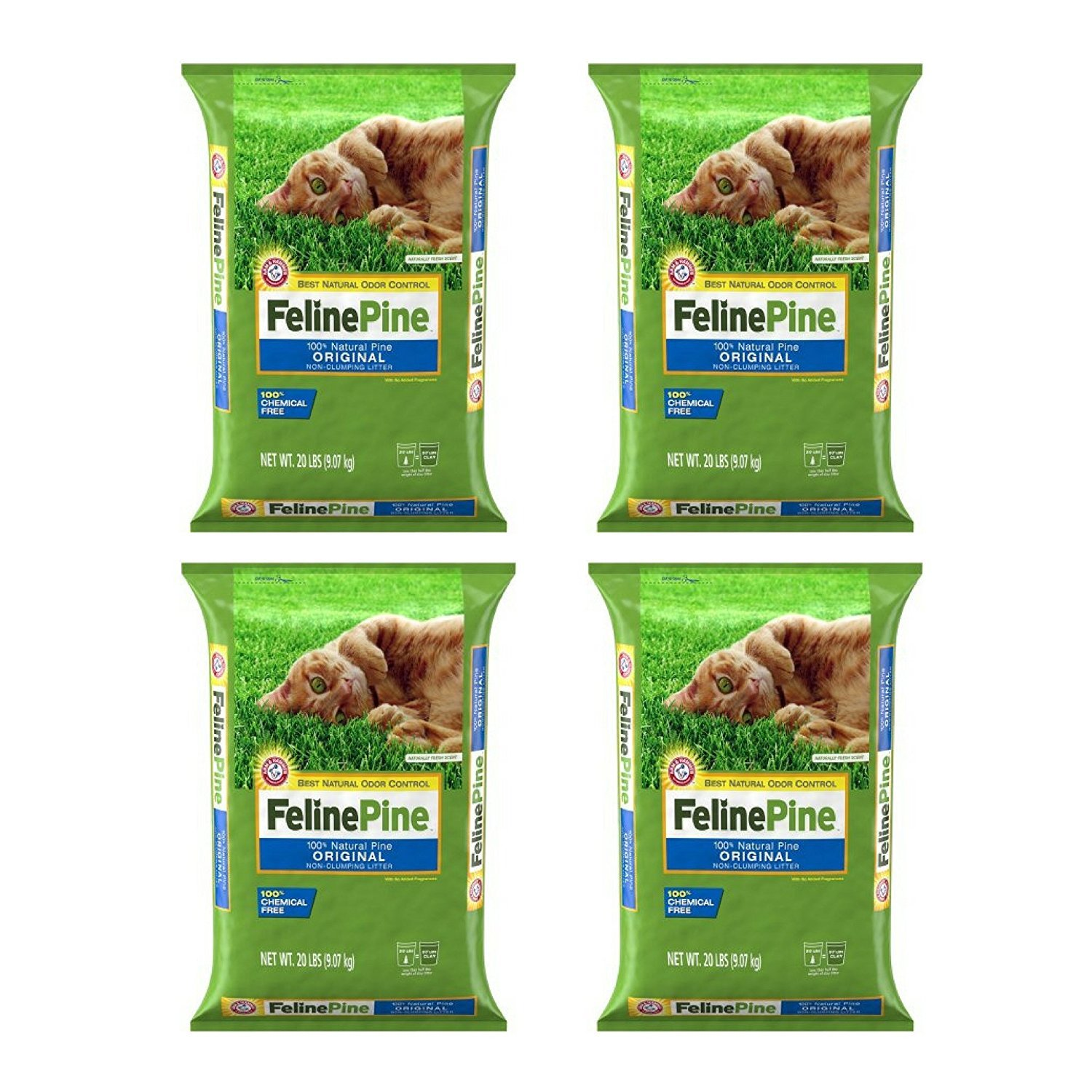 """Ames"" Feline Pine Cat Litter, 20 Lbs - 4 Pack"