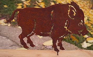 Edelrost Wildschwein Mit Schraube 24x16cm Fur Holz Garten Deko