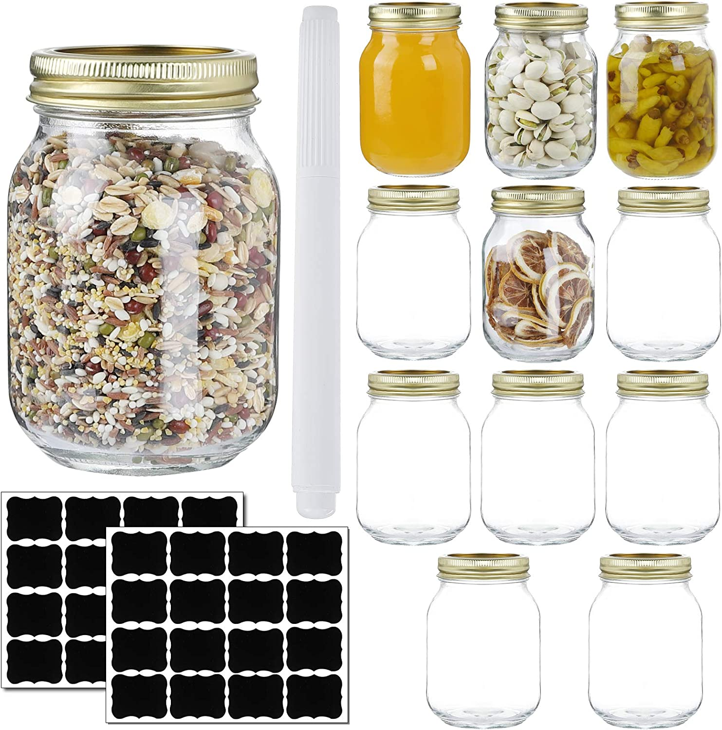12 Pack 16oz Mason Jars,Glass Jars With Regular Lids and Bands,Canning Jars For Pickles And Kitchen Storage,Wide Mouth Spice Jars With Gold Lids For Honey,Caviar,Herb,Jelly,Jams-20 Black Labels,1 Chalk Marker Included