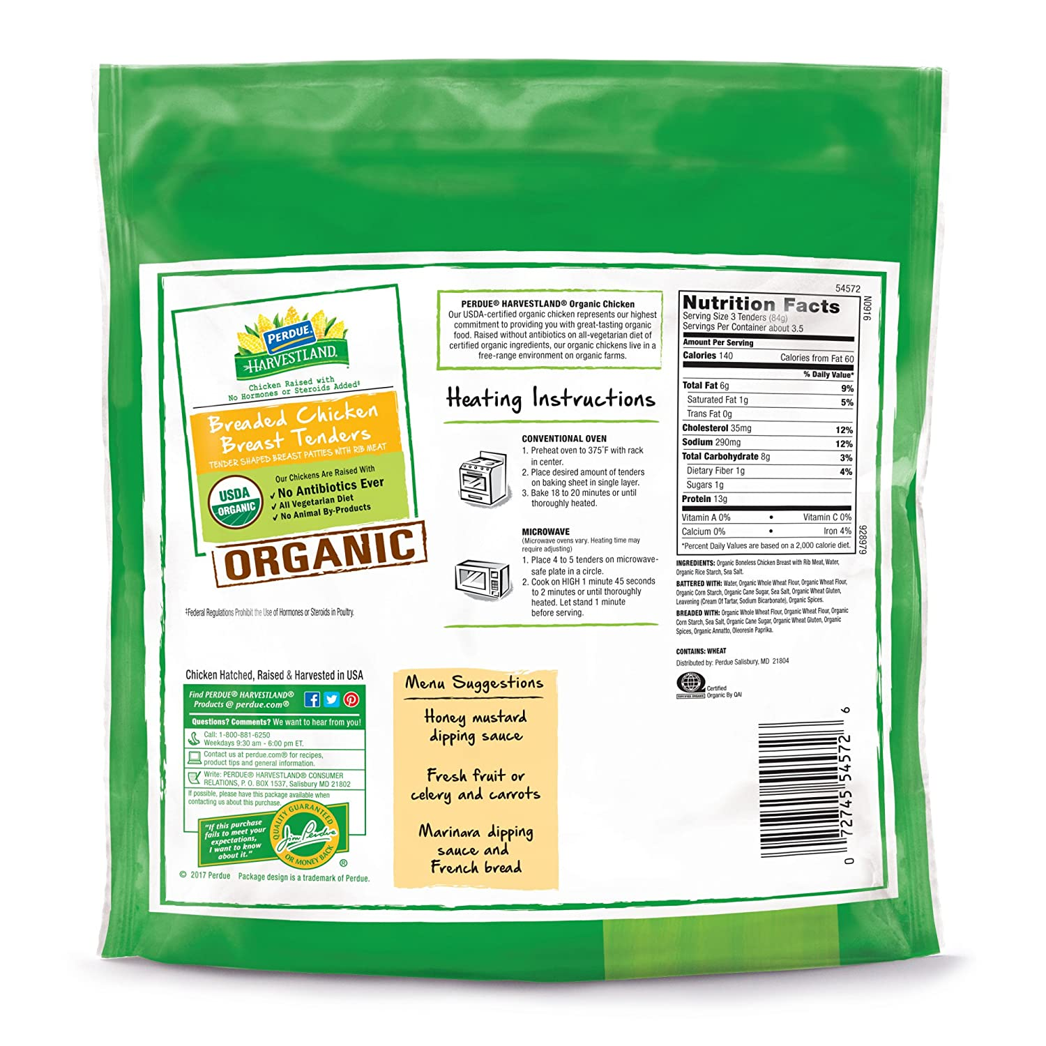 Perdue Harvestland, Organic Chicken Breast Tenders, 0.625 lb (Frozen ...