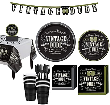 Amazon.com: Party City Vintage Dude - Kit de fiesta de 60 ...