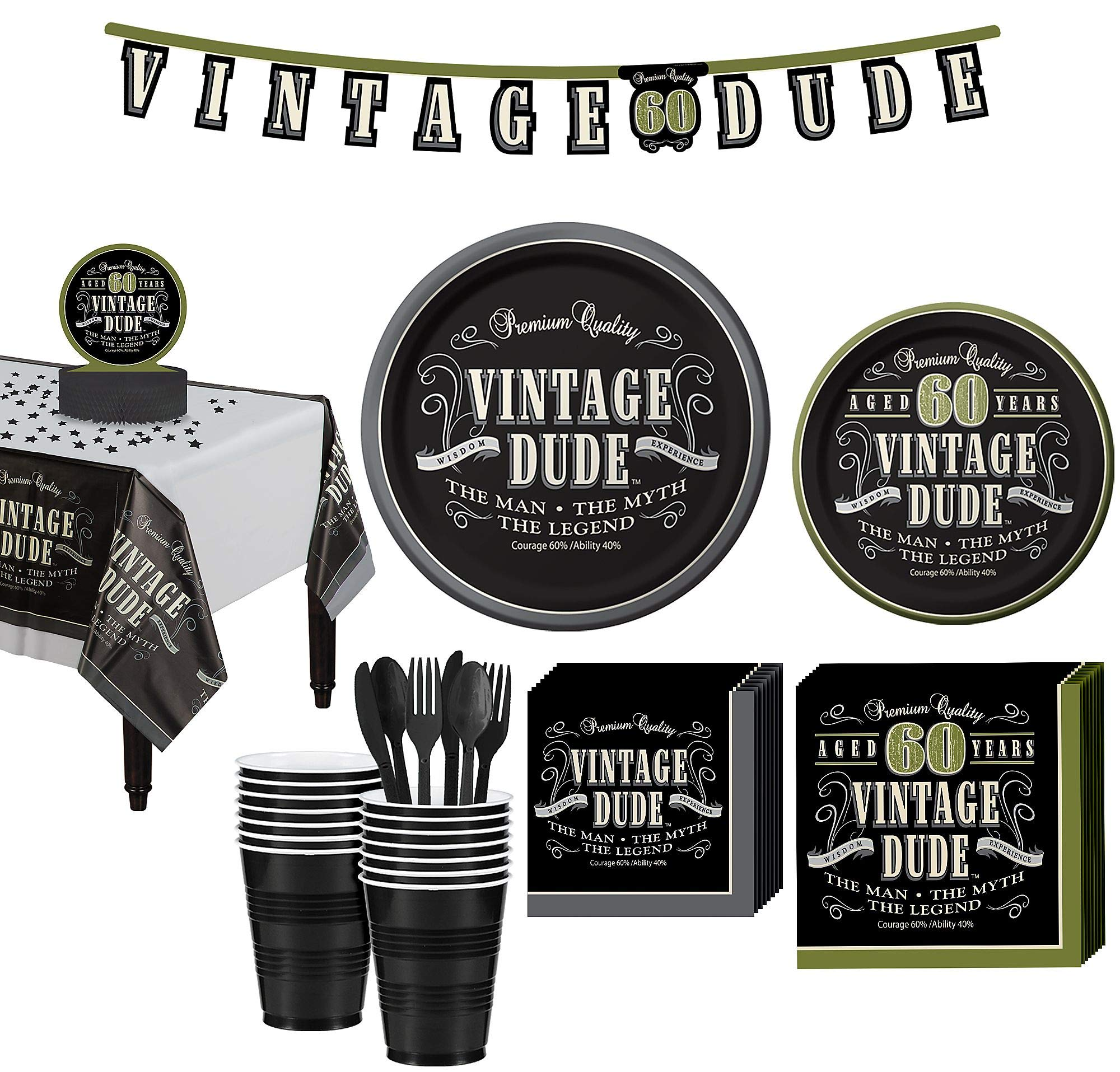 Party City Vintage Dude 60th Birthday Party Kit for 16 Guests, 167 Pieces, Includes Plates, Napkins, and Decorations