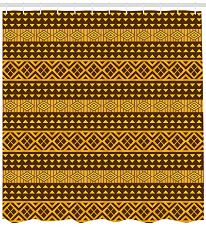 Lunarable Yellow And Brown Shower Curtain Old Fashion African Geometric Ornate Artistic Triangles Print