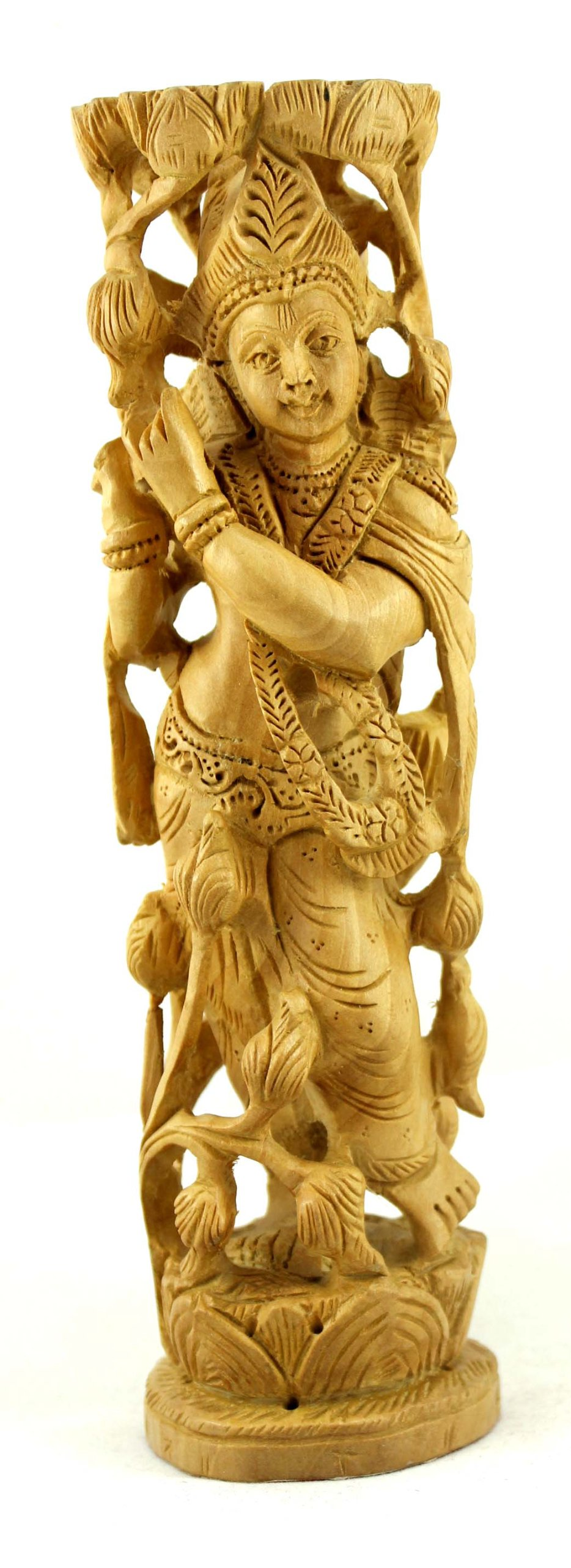 A Hand Carved Natural Wooden Lord Krishna Statue 8 inches