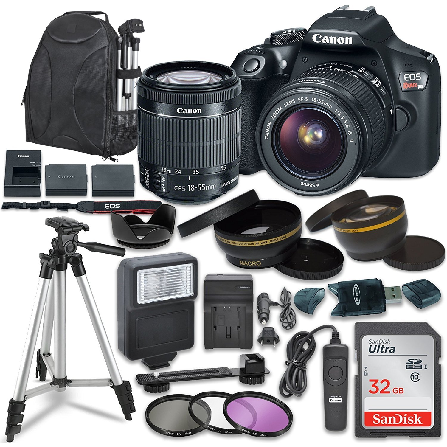 Canon EOS Rebel T6 Digital SLR Camera with Canon EF-S 18-55mm Image Stabilization II Lens, Sandisk 32GB SDHC Memory Cards, Accessory Bundle by Canon