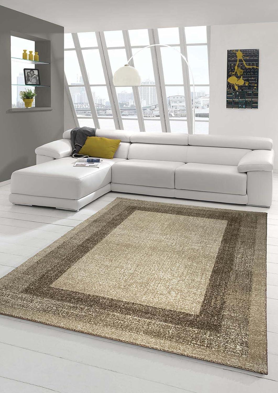 Designer Teppich Moderner Teppich Wohnzimmer Teppich Velours Kurzflor Teppich mit Winchester Bordüre in Braun Beige Creme Größe 200 x 290 cm