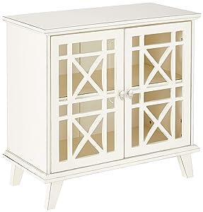"""WE Furniture AZ32FWAWH Laser Cut Accent Table, 32"""", Antique White"""