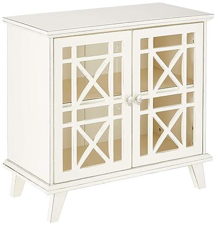 Gentil WE Furniture AZ32FWAWH Laser Cut Accent Table, 32u0026quot;, Antique White
