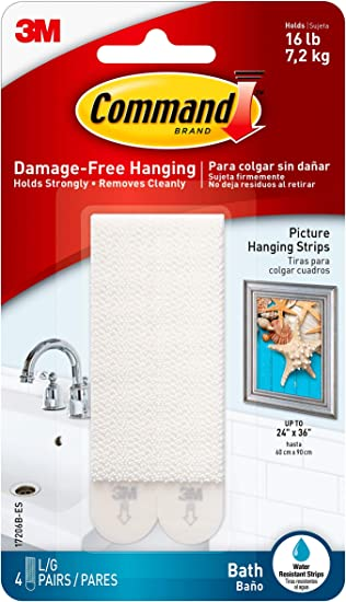 Organize Damage-Free White 4-Water Resistant Strips Command Bath Picture Hanging Strips Large 1 17206B-ES