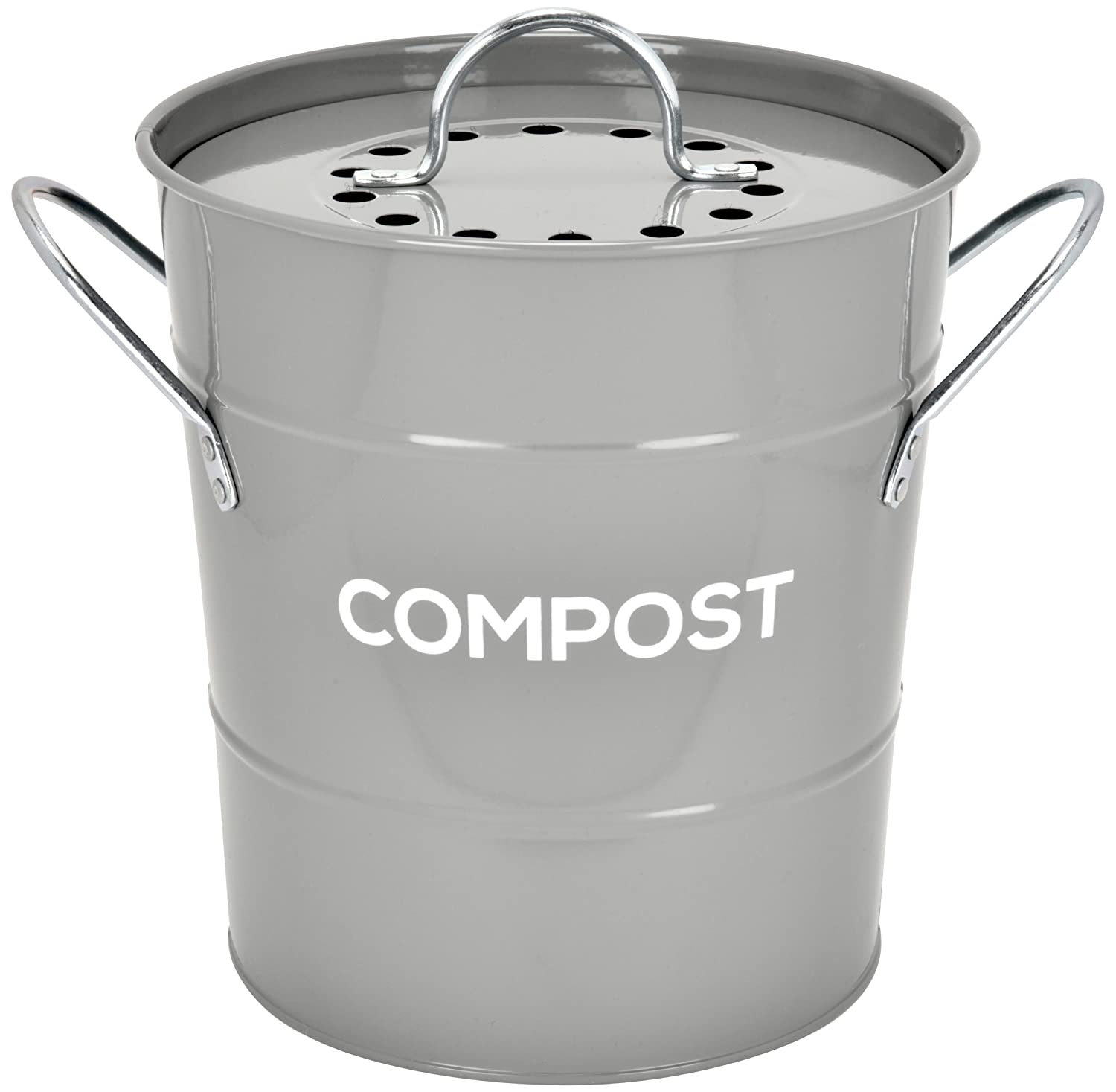 INDOOR KITCHEN COMPOST BIN by Spigo, Great for Food Scraps, Includes Charcoal Filter For Odor Absorbing, Removable Clean Plastic Bucket, Handles, Durable Stainless Retro Design, 1 Gallon, Grey