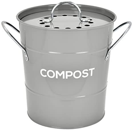 INDOOR KITCHEN COMPOST BIN by Spigo, Great for Food Scraps, Includes  Charcoal Filter For Odor Absorbing, Removable Clean Plastic Bucket,  Handles, ...